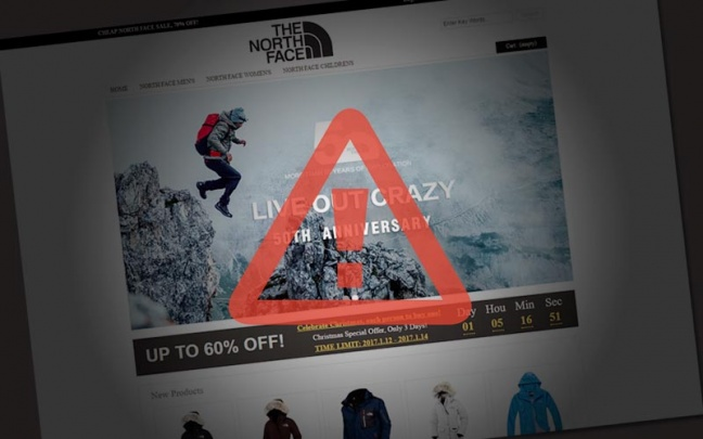 Pozor na falošný eshop s produktmi The North Face
